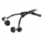 Mobaks HXT-2045 com zíper In-Ear Estilo - Black + Prata (plugue de 3,5 mm)