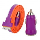 Car Charger Adapter + USB 30-Pin Lade-/ Datenkabel für iPhone 4S / 4 - Lila + Orange + Weiß