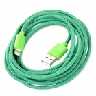 NL-208 Nylon Housing USB Male to Lightning Data Sync & Charging Cable for iPhone 5 - Green (3m)