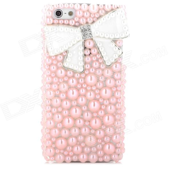 Sylish Pearl Bowknot Decoration Plastic Back Case for Iphone 5 - Water Pink + White plastic standing human skeleton life size for horror hunted house halloween decoration