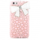 Sylish Pearl Bowknot Decoration Plastic Back Case for Iphone 5 - Water Pink + White