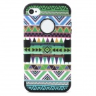 Protective Tribal Tattoo Pattern Silicone Full Body Case for Iphone 4 / 4S - Black + Green