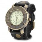 JINGYI PU Leather Band Analog Quartz Wrist Watch for Men - Black + Bronze