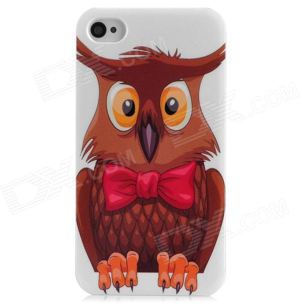 все цены на  Cute Cartoon Owl Style Protective Plastic Back Case for Iphone 4 / 4S - White + Brown  онлайн