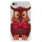 Cute Cartoon Owl Style Protective Plastic Back Case for Iphone 4 / 4S - White + Brown