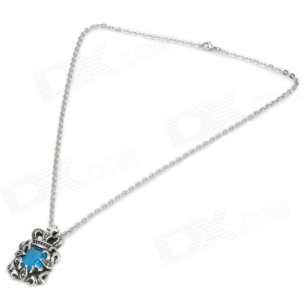 eQute PSSM92C5 Fashionable Men's Titanium Steel + Glass Pendant Necklace - Blue + Silver смеситель для кухни рмс sl77w 017f 1