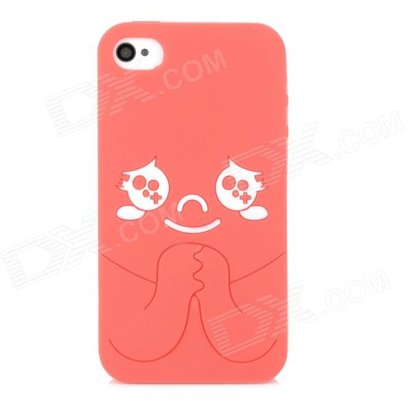 Protective Cartoon Silicone Back Case for Iphone 4 / 4S - Red + White protective silicone back case for iphone 4 4s translucent white
