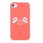Protective Cartoon Silicone Back Case for Iphone 4 / 4S - Red + White