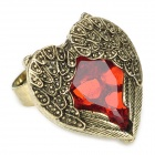 eQute RPEW1C3 Retro Hear Shaped Surrounded by Wings Style Adjustable Ring - Red + Bronze