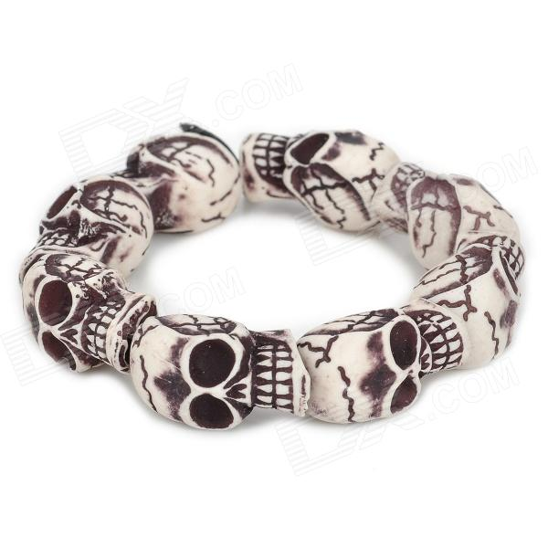 Фото - eQute BOTM1C1 Retro Skull Pattern Bead Bracelet - Beige + Black equte fashion men s nature tiger eye agate chatoyancy big dragon pattern bead bracelet black