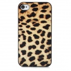 Leopard Style Protective Plastic Back Case for Iphone 4 / 4S - Black + Yellow