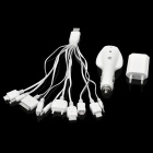 KSA LTY007 Universal Car Charger + EU Plug Wall Charger + 10-in-1 Data Cable Set - White