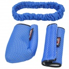 3-in-1 Car Gears + Rearview Mirror + Hand Brake Cover Set - Black + Blue
