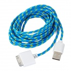 NL-203 Nylon Housing USB Male to Apple 30 Pin Data Sync & Charging Cable for iPhone 4S - Blue (3m)