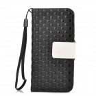Grass Mat Grain Protective PU Leather Case for iPhone 5 - Black + Beige
