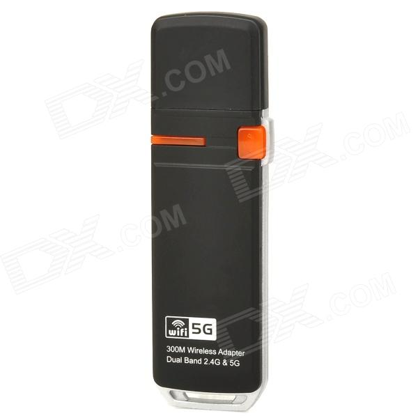 300Mbps 2.4GHz & 5GHz Dual Band Wireless-N USB Adapter