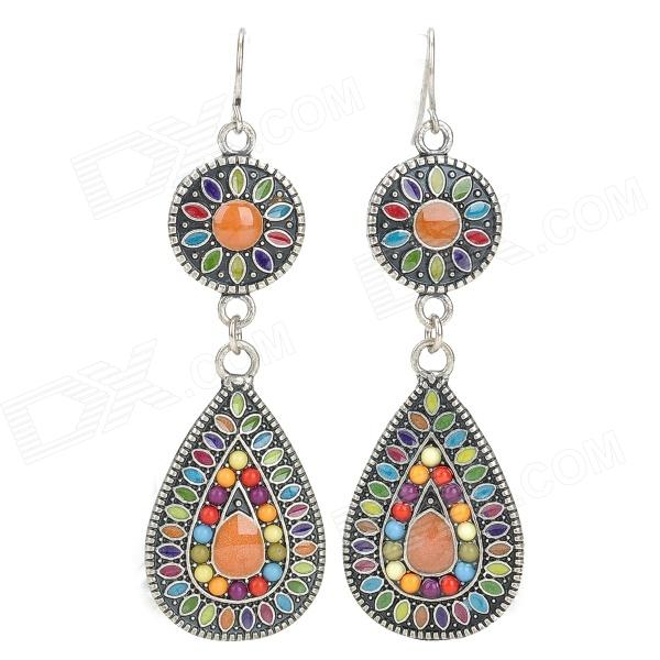 Bohemian Water Drop Style Zinc Alloy Earrings - Multicolored (Pair)