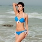 LC40468-4 Sexy Push-up Halter Bikini Set - Blue + White (Size-L)
