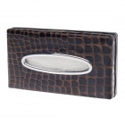 YUCHEZAI Multifunctional Alligator PU Leather Car Sun Visor Sunshade / Tissue Case - Black + Golden