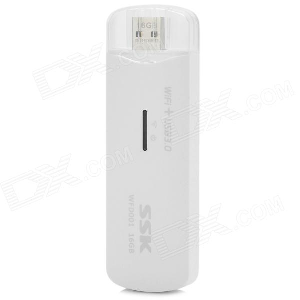 SSK Compact  WiFi + USB Flash Drive - White + Silver (16GB) ssk scrm056 usb 3 0 5gbps high speed multifunctional card reader white silver grey max 64gb