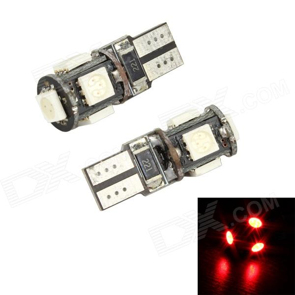 Merdia LEDD004JMA5S2 T10 3.5W 60lm 700nm 5-SMD 5050 LED Red Light Decoding Car Lamps - (Pair / 12V) merdia t10 5w 126lm 9 x smd 5050 led error free canbus red light car clearance lamp 12v 2pcs