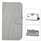 Wood Grain Style Protective PU Leather Case for Samsung Galaxy S4 Mini i9190 - Grey