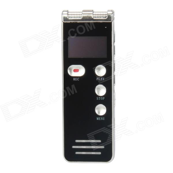 V28 1.0 LCD Screen Rechargeable Digital Voice Recorder w/ MP3 Player - Black + Silver (8GB) 1 0 led digital usb rechargeable voice recorder w mp3 player 4gb