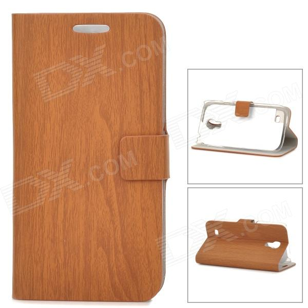 Wood Grain Style Protective PU Leather Case for Samsung Galaxy S4 Mini i9190 - Brown cool snake skin style protective pu leather case for samsung galaxy s3 i9300 brown