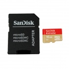 Sandisk MicroSDHC TF UHS-I Memory Card w/ SD Card Adapter - Red + Golden (16GB)