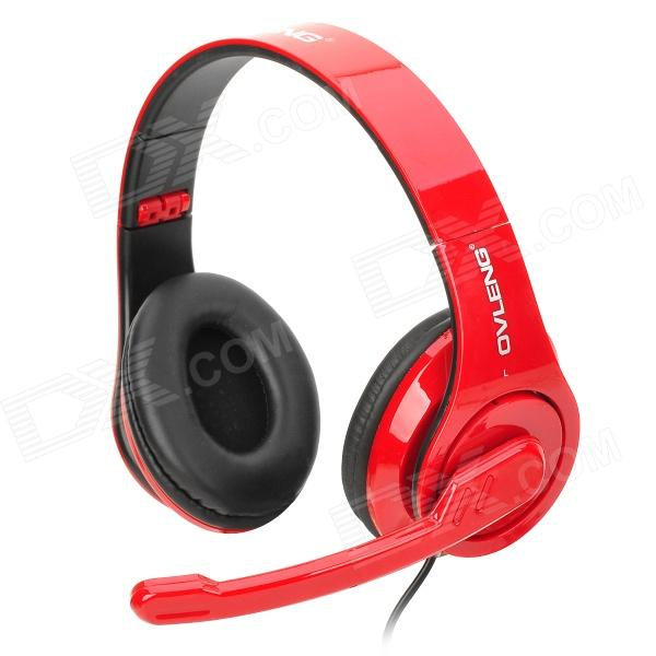 OVLENG Q8 USB 2.0 Wired Headphones Headset w/ Microphone - Red + Black (1.9m) 1more super bass headphones black and red