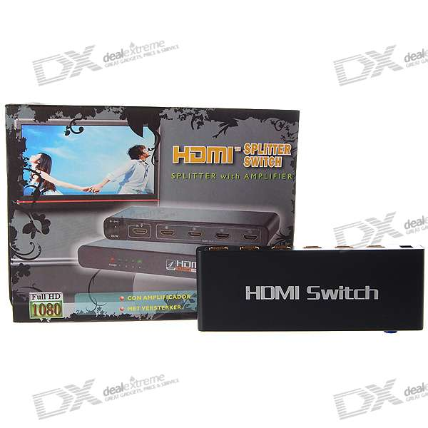5-port HDMI V1.3 Switch with Remote Control (5 - in-1-uitgang)
