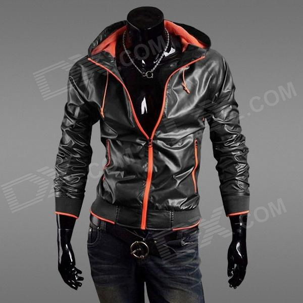 Fashionable Men's Quick Dry Jacket - Black + Orange (Size-L)