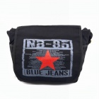 Star Pattern Canvas Messenger Bag - Black