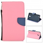 Protective PU Leather Case w/ Card Holder Slots for Samsung Galaxy Mega i9200 - Pink