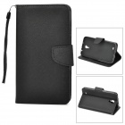 Protective PU Leather Case w/ Card Holder Slots for Samsung Galaxy Mega i9200 - Black