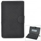 "Ultra Thin 80-Key Wired Silicone Keyboard w/ PU Leather Case for 7"" Tablet PC - Black"