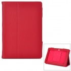 Protective PU Leather Case w/ Stand for Asus Padfone 3 - Red