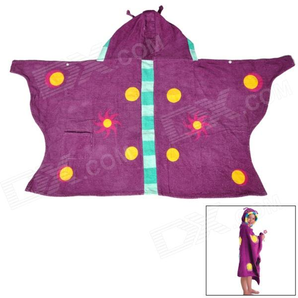 H Cute Kid's Butterfly Style Cotton Bathrobe w/ Cap Cloak - Purple