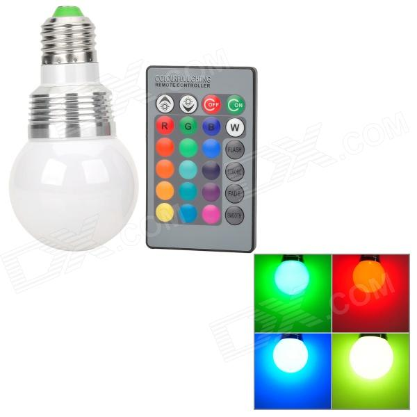 XLZM-RGB3QPD-D E27 3W 150lm 3-LED RGB Light Bulb - Silver + White (AC 85~265V) jr led e27 10w 500lm led rgb light bulb w remote control white silver ac 85 265v