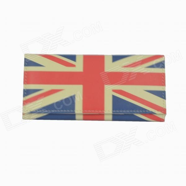 Creative Union Jack Design 3-Fold Long Wallet - Red + Blue + Beige