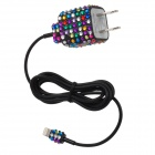 Unique Sparkling Crystal Decorative US Plug Power Adapter + Lightning Cable for iPhone 5 (97cm)