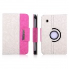 ENKAY Jean Style PU Leather Case w/ Holder for Samsung Galaxy Tab P3100 / P3110 - White +  Pink