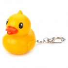Cute Duck Keychain w/ Sound Effect / White Light LED - Orange + Yellow + Black + White + Silver