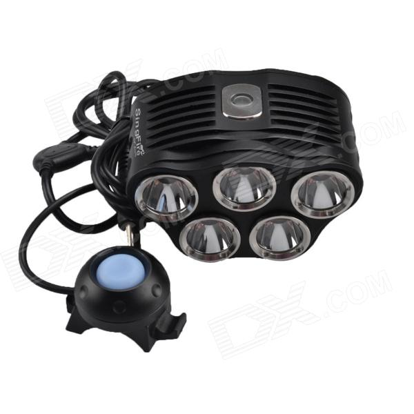 SingFire SF-608B 692lm 5-Mode White Bicycle Front Light w/ 5 x CREE XM-L T6 - Black (6 x 18650) singfire sf 548 1524lm 5 mode white bicycle light w 4 cree xm l t6 black silver 4 x 18650