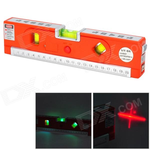 LV-04 Multifunction Measuring Laser Level w/ LED + Ruler + Tape - Red + Silver (3 x AG13) лазерный дальномер mini desktop laser tracing measuring tape
