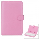 "80-Key USB Wired Keyboard w/ Protective PU Leather Case for 7"" Android Tablet PC - Pink"