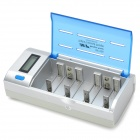 "MP MP-906 1.5"" LCD Intelligent AA / AAA / C / D / 9V Battery Charging / Discharging Charger - Silver"