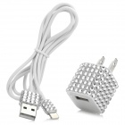 Sparkling Crystal Decorative US Plug Power Adapter + Lightning Cable for iPhone 5 - White (90cm)