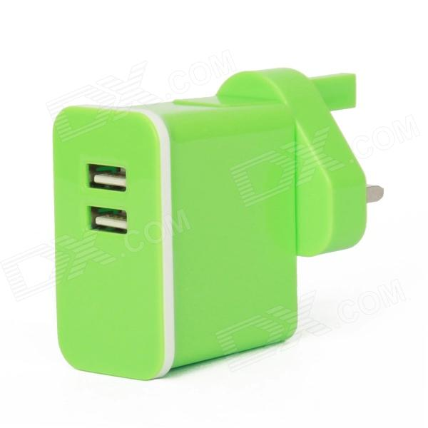 E-102 Dual USB AC Power Charger Adapter for Ipad / Iphone + More - Green (UK Plug / 100~240V) 3 port usb ac uk plug power adapter for mobile phone tablet pc white 100 240v