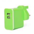 E-102 Dual USB AC Power Charger Adapter for Ipad / Iphone + More - Green (UK Plug / 100~240V)